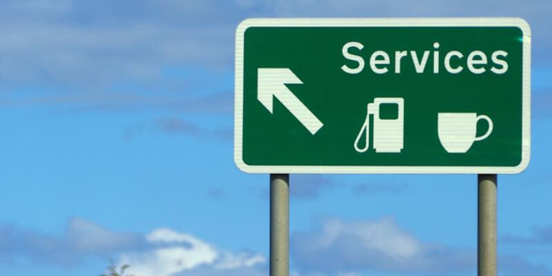 service station road sign