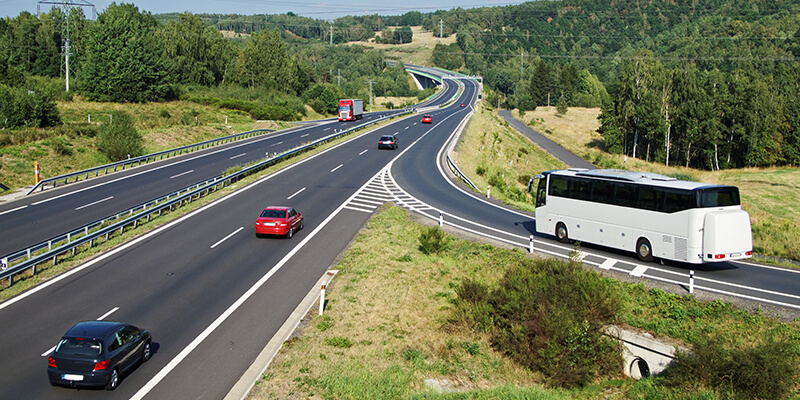 Coach Joining Motorway From A Slip Road