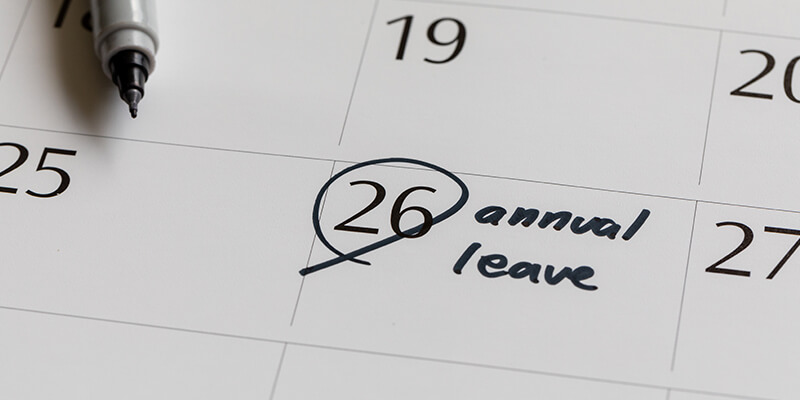 annual leave on calendar
