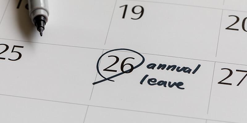 annual leave on calendar