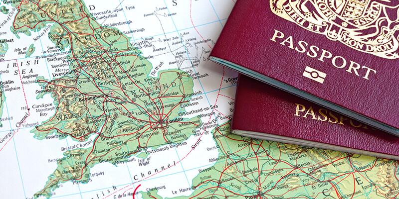 UK passport on map