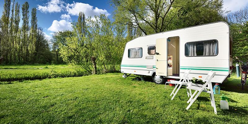caravan in field