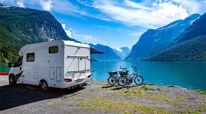 caravan parked near lake