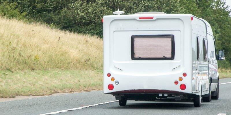 van towing caravan